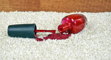 remove nail polish from carpet with window cleaner